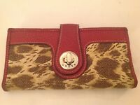 """Guess Clutch Checkbook Wallet Red Pebbled Leather Animal Print Canvas 6.25"""" x 3"""""""