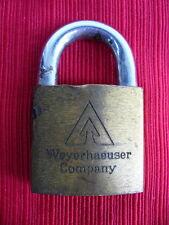 "BEST Vintage padlock - ""Weyerhaeuser Company"" numbered - Brass - NO Key NO Res!"