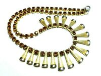 Vintage 1950s claw set amber glass rhinestone & gold tone fringe necklace