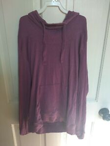 Columbia Cowl Neck Cotton Hoodie Purple pocket womens sz medium thumb holes