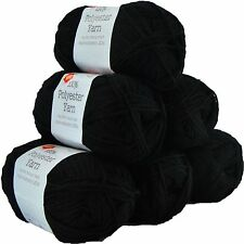PORTA CRAFT 10 X 100g Super Soft Polyester Knitting Yarn 220m MIDNIGHT BLACK