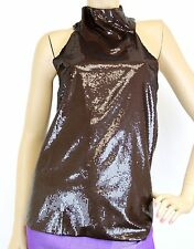 $995 NEW Authentic Gucci Sleeveless Sequined Halter Top, 42, 247405