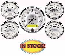 """Auto Meter Ford Logo 5 PC. Gauge Kit with Electric 3-1/8"""" Speedometer 880087"""