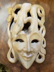 Hibiscus Wood Mask Surreal Wall Art Hand Carved Bali Handmade Lizard Longevity