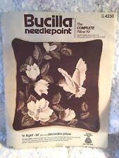 "Bucilla 4230 ""In Flight"" Persian Wool Needlepoint 14"" Pillow Kit Floral Birds"