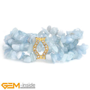 Natural Gemstone Chips Beaded Cluster Elastic Bracelet Jewellery Christmas Gift