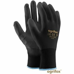🧤 1,12,24 Nylon PU Coated Grip Work Safety Gloves Builders Gardening