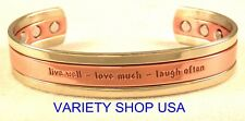 'Live,Love,Laugh' Pure Copper Wide Inspirationail Magnetic Therapy Cuff Bracelet