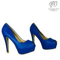Ma-Eva Women's Shoes Peep Toe Blue Leather Hidden Platform Size 36 Eu