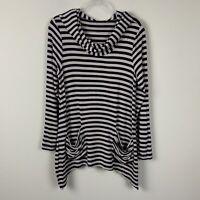 Blue Saks Fifth Avenue Lagenlook Long Sleeve Taupe Black Striped Shirt Women's M