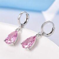 18K White Gold Plated Pink Topaz Swarovski Crystal Drop/Dangle Earrings Jewelry