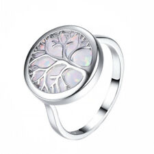 Fashion Silver white round life Tree Opal Ring Valentine's Day Jewelry Size 9