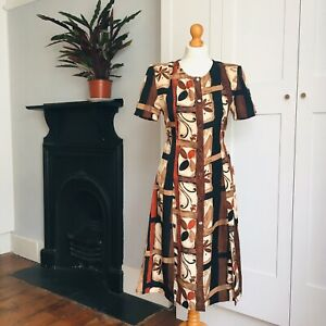 Vintage 80s 90s Black Brown Bold Abstract Print Fitted Button Down Dress 10