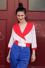 Damen Bluse blouse Bündchen weiß red rot Punkte 80er True VINTAGE 80´s dots