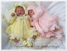 "BABY DOLL KNITTING PATTERN LUSCIOUS LACE MATINEE SET 15-16"" REBORN OR DOLL"