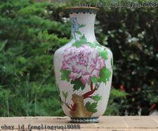 China Royal Copper Cloisonne Enamel Peony Vase Flower Bottle Vase Pot