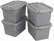 NEW Grey Plastic Storage Bin, 6 Quart Latching Box Container with Lid, 4 Packs