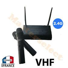 2 Microphone Micro Sans Fil A Main Double VHF Pour Chant Karaoké Performant 2.4G