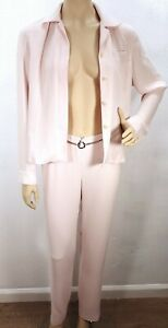 Vintage Women's Ann Tjian Kenar Baby Pink Suit Pants Sz 4 Jacket Sz 6