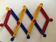 Expandable Kids Hat Coat Rack Red Blue Yellow Plastic 10 Pegs