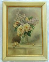"Big 26"" Antique Oil Painting Folk Art Still Life Floral Country Primitive FRAMED"