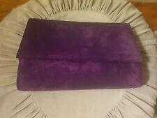 Vintage Hermes Leather Goods Purple Suede Clutch Purse