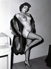 1950s Nude Pinup with Open fur coat in fishnets 8 x 10 Photograph