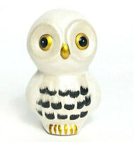 Vintage Ceramic Snow Owl Figurine Gold Eyes with Sugar Finish