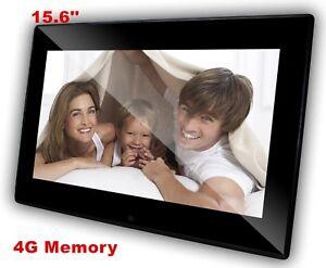 QPIX Digital 15.6'' Photo Frame Built-in Clock and Calendar 4GB Memory LED Panel