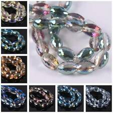 10pcs 8x12mm Oval Barrel Faceted Crystal Glass Loose Crafts Beads Wholesale lot