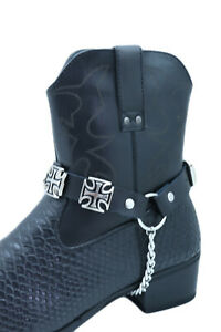 Men Chain Black Color Bands Western Boots 2 Straps Cross Charms Adjustable Size