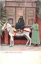 Egypt Caire - Femme arabe a baudet, donkey, Abaya cloak clothing