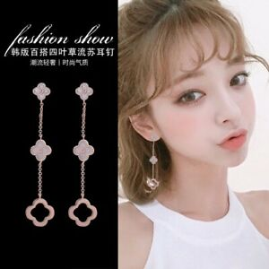 Fashion Four Leaf Clover With Pink Shell Titanium Rose Gold Earrings