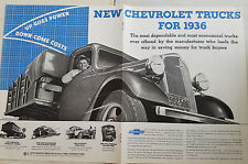 1936 Chevrolet Commercial Truck Two Page Original Ad