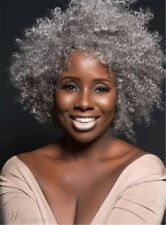 Kinky Curly Salt and Pepper Hair Synthetic Capless Wigs 12 Inches