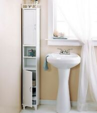 "Cabinet Tower Home Bathroom Shelves Storage Furniture Slim 65"" Wooden White"
