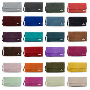 LiaTalia Italian Suede Leather Wristlet Clutch Bag with Cotton Lining - Cheryl