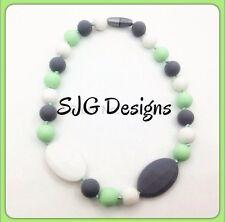 Silicone Ball Pendant - Grey / White / Lime Green Colour-  New-free Postage