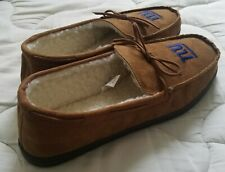 IZOD Men's Classic Suede Moccasin Slipper, Winter Warm Size 13 XXL Tan Color
