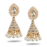 Women's Pearl Rhinestone Crystal Drop Dangle Chandelier Earrings Jewellery