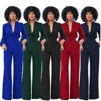 Women Playsuit Party Jumpsuit Romper Long Trousers Pants Clubwear V Neck Work