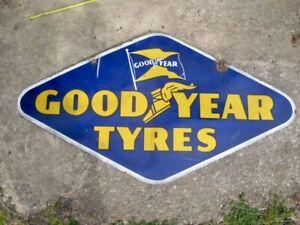 Genuine Good Year Tyres Motor Car Garage Advertising Enamel Sign c1930s