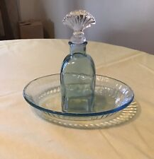 Blue Bottle With Glass Stopper And Matching Bowl