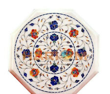"12"" Marble Octagon Coffee Table Top Lapis Carnelian Floral Inlay Home Decor W403"