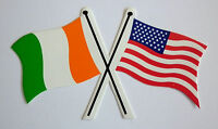 Irish & American Crossed Flags - Irish/American Souvenir - Bumper Sticker, Decal