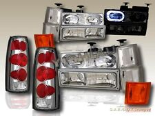 94-98 CHEVY FULL SIZE HEADLIGHTS HALO 10 PCS+ ALTEZZA TAIL LIGHTS CLEAR