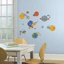 Planets Wall Decals 39 Outer Space Rockets Stars Stickers Kids Room Decor