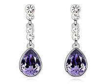 Amazing Silver & Deep Purple Tear Drop Dangle Earrings E601
