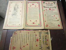 Antique 1919 FORTUNAS CHART Triplicity Tarot Fortune Telling Paper Charts