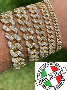 Real Miami Cuban Link Bracelet Iced Diamond Out 14k Gold Vermeil 925 Silver ICY